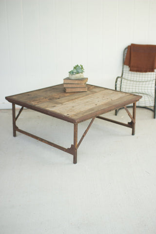 Recycled Wood And Iron Square Folding Coffee Table - Les Spectacles French Industrial