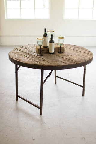 Wooden Round Folding Tent Table - Les Spectacles French Industrial