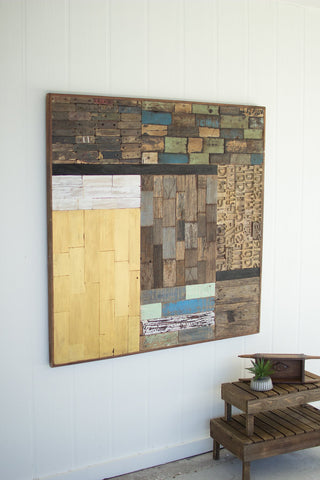 Recycled Wood Patch Wall Panel - Les Spectacles French Industrial