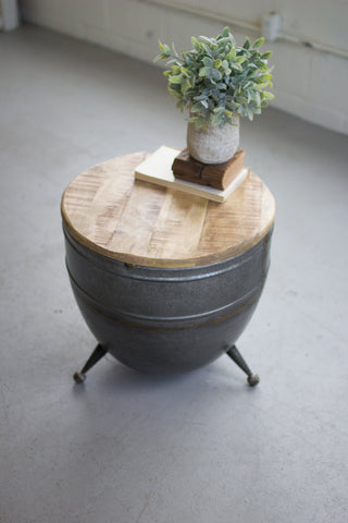 Drum Shaped Metal Side Table With Mango Wood Top - Les Spectacles French Industrial