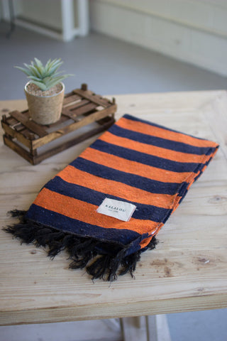 Cotton Throw - Orange And Blue - Les Spectacles French Industrial