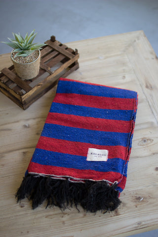 Cotton Throw - Red And Blue - Les Spectacles French Industrial