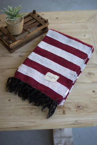 Cotton Throw - Maroon And White - Les Spectacles French Industrial
