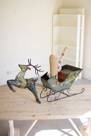 Recycled Iron Deer With Cart - Les Spectacles French Industrial