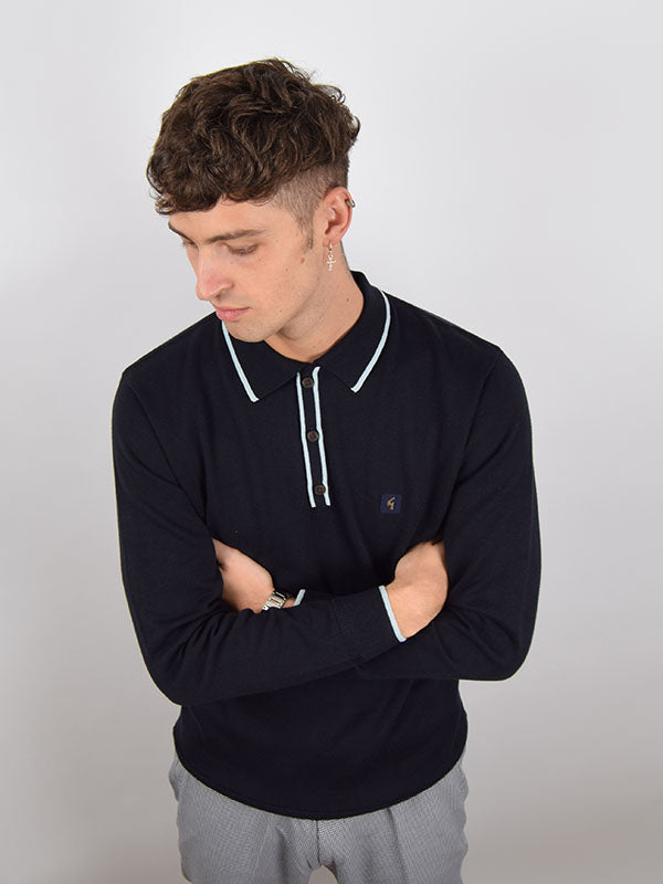 Gabicci Vintage Navy Tipped Polo Shirt