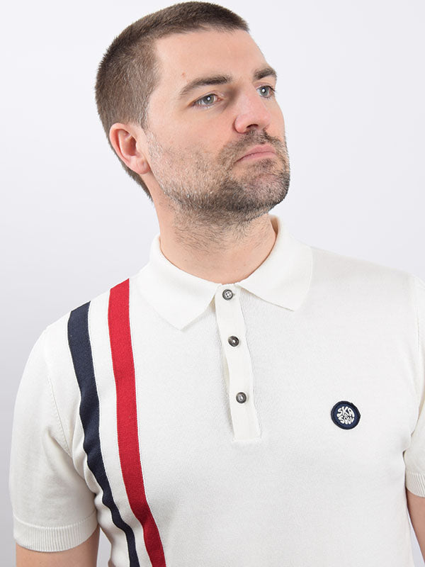 Ska & Soul Ecru Racing Stripe Polo Shirt