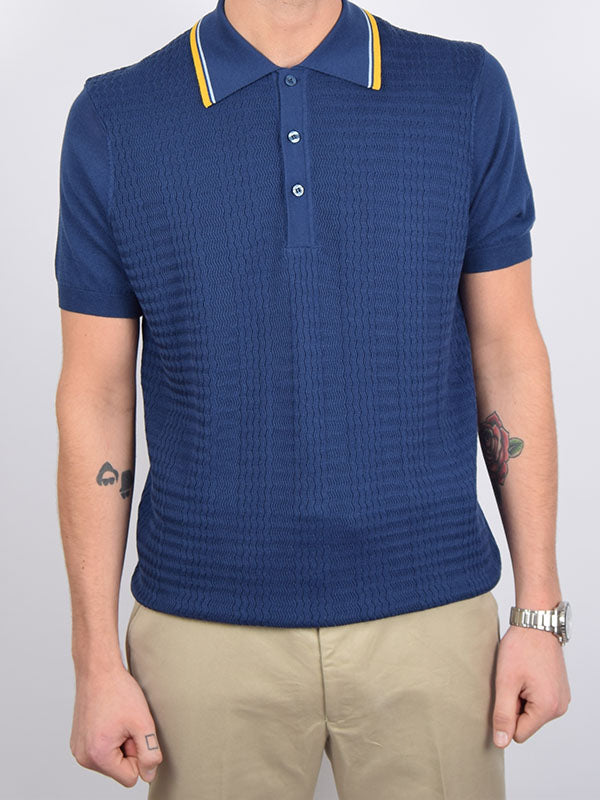 Art Gallery Mid Blue Tipped Textured Polo
