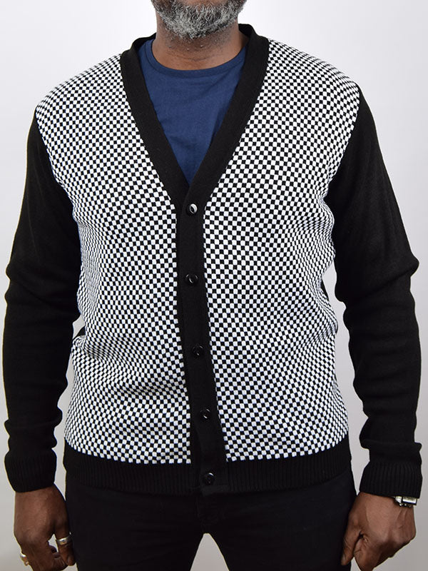 Relco Black & White Chequerboard Cardigan