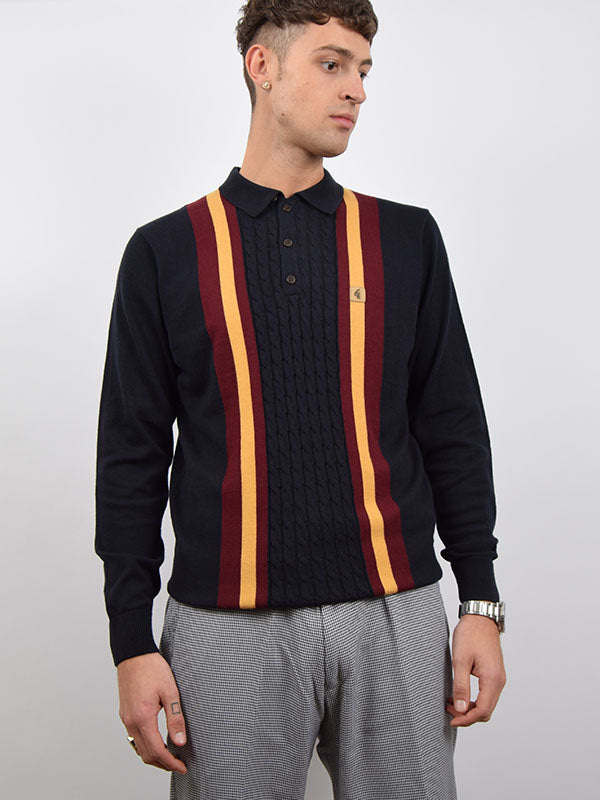 Gabicci Vintage Navy Cable Knit Twin Front Stripe Polo Shirt