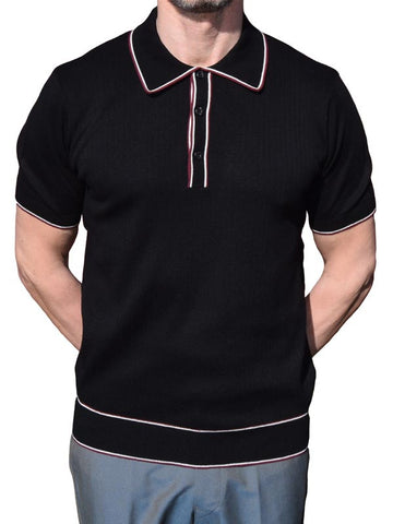 Art Gallery Black Ribbed Tipped Polo
