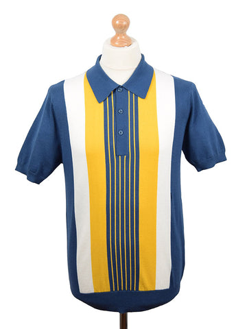 Art Gallery Mid Blue & Mustard Striped Polo