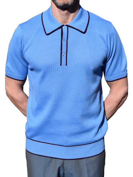 Art Gallery Sky Blue Ribbed Tipped Polo