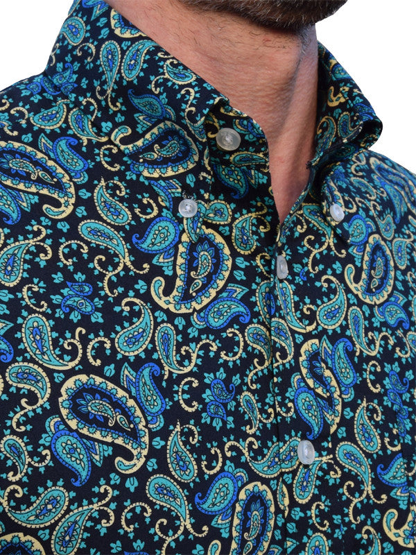 Art Gallery Navy Blue & Green Paisley Shirt