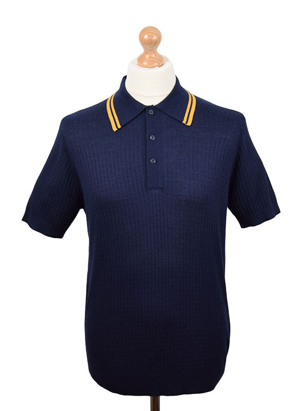 Art Gallery Navy Textured Tipped  Polo