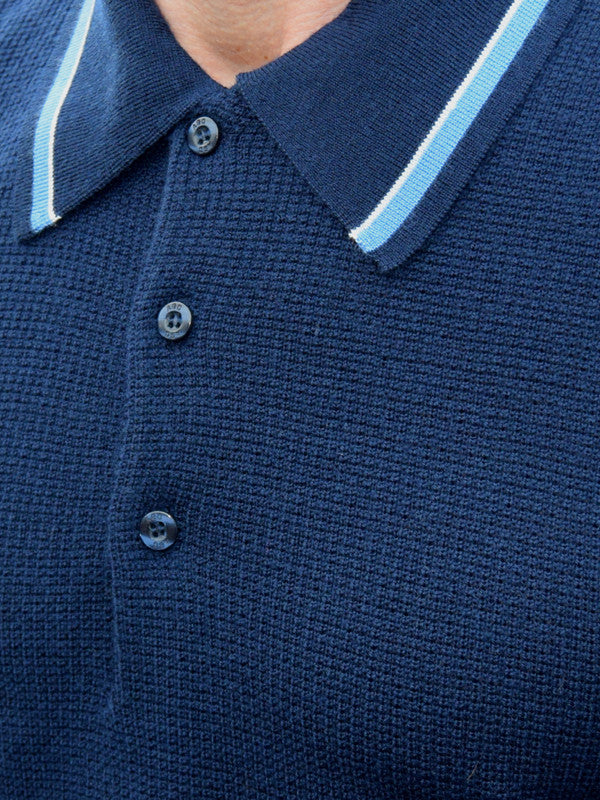 Art Gallery Navy Tipped Polo Shirt