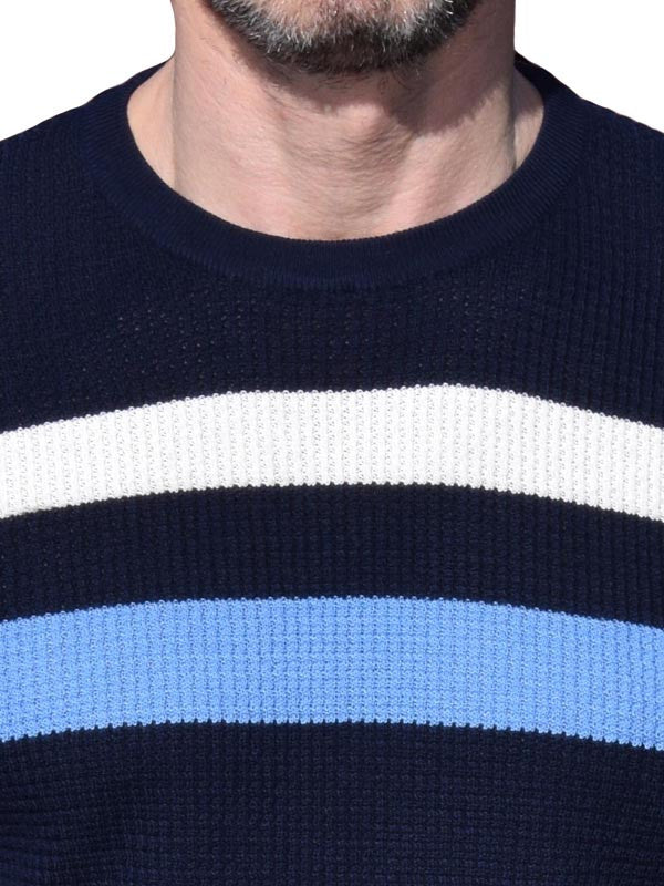 Art Gallery Navy & Blue Striped Waffle Knit Top