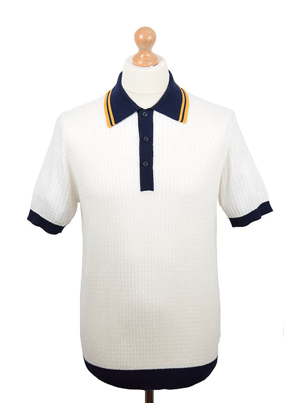 Art Gallery Off White Textured Contrast Collar Polo