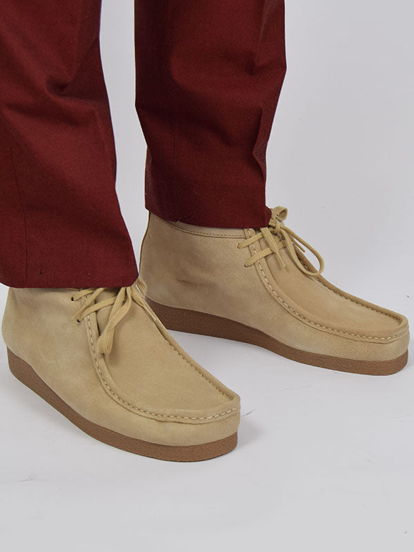 Delicious Junction Maple Suede Wallabee Boots