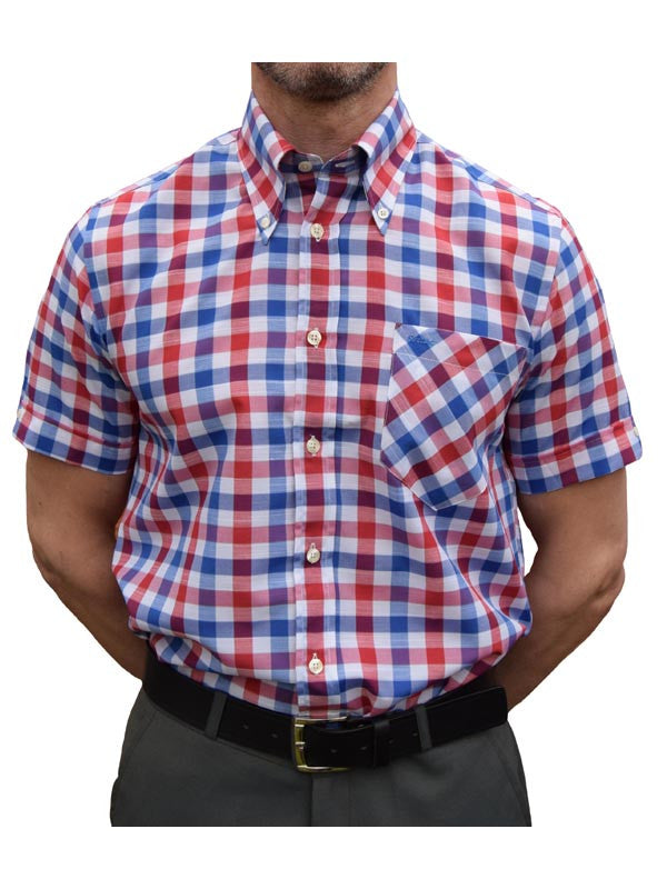 Britac Red Navy & White Check Shirt