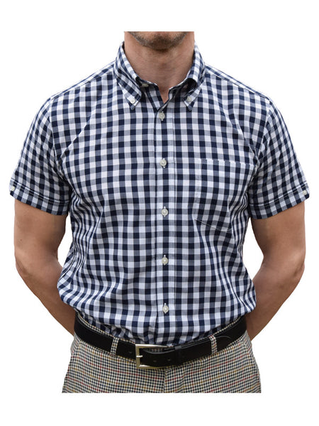 Brutus Trimfit Navy Large Gingham Shirt