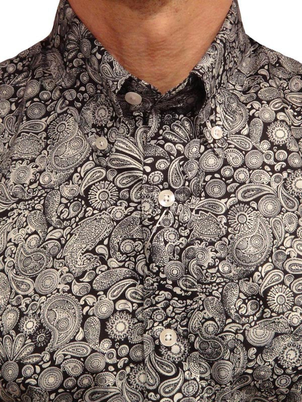 Relco Black & Grey Platinum Paisley Shirt