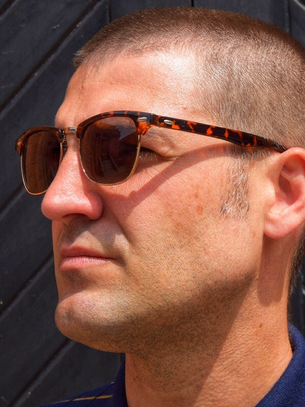 Revive Brown Tortoise Shell Clubmaster Sunglasses