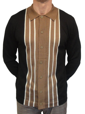 Art Gallery Black Knitted Striped Cardigan