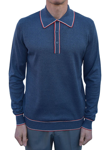 Art Gallery Mid Blue Ribbed & Tipped Polo
