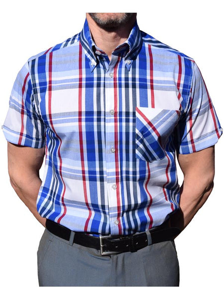 Art Gallery Navy Blue & Red Check Shirt