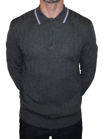 Art Gallery Grey Ribbed Polo Shirt