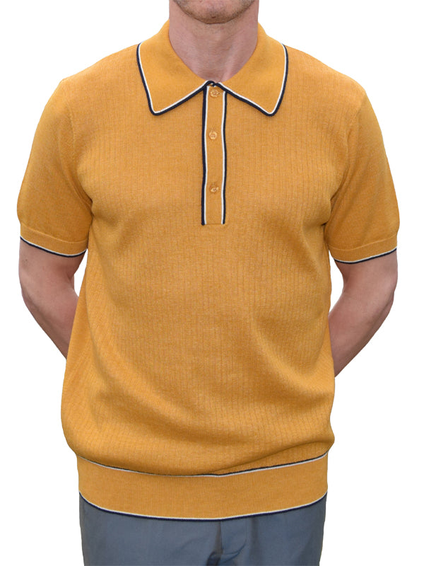Art Gallery Mustard Ribbed Tipped Polo