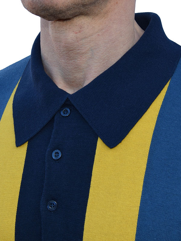 Art Gallery Navy & Mustard Striped Polo