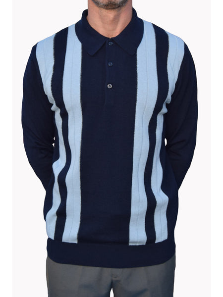 Art Gallery Navy Blue Ribbed Striped Polo Shirt