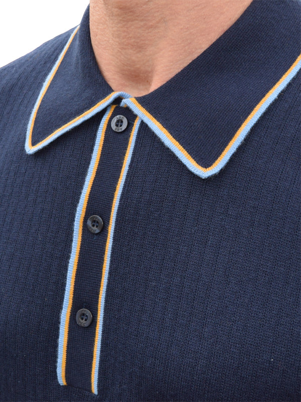 Art Gallery Navy Ribbed Tipped Polo
