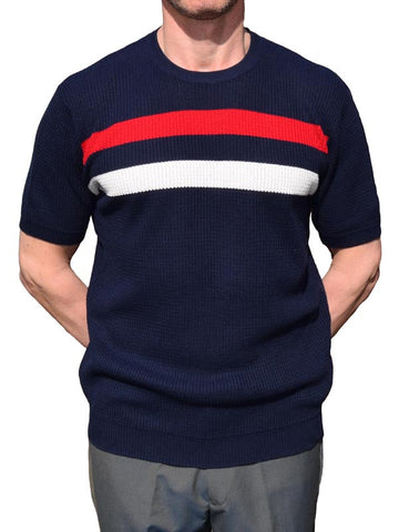 Art Gallery Navy Striped Waffle Knit Top