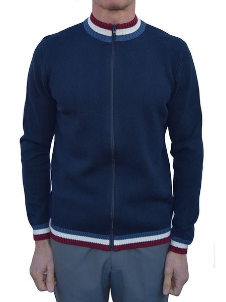 Art Gallery Navy Knitted Zip Cardigan