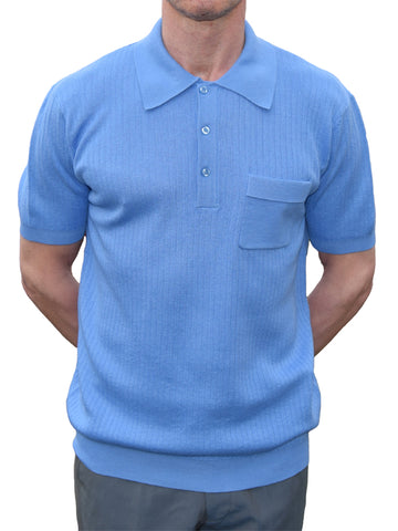 Art Gallery Sky Blue Ribbed Polo