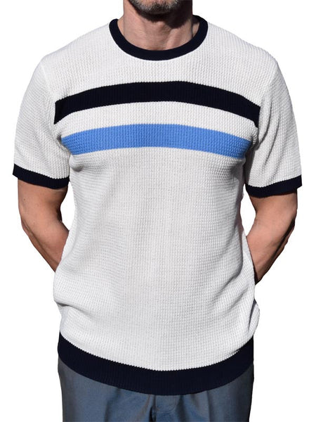 Art Gallery Off White Striped Waffle Knit Top
