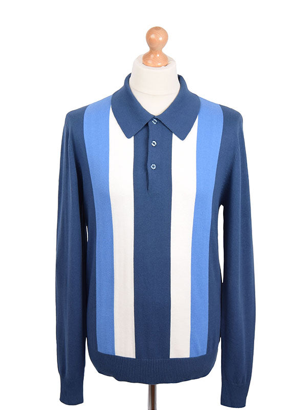 Art Gallery Mid Blue Striped Polo
