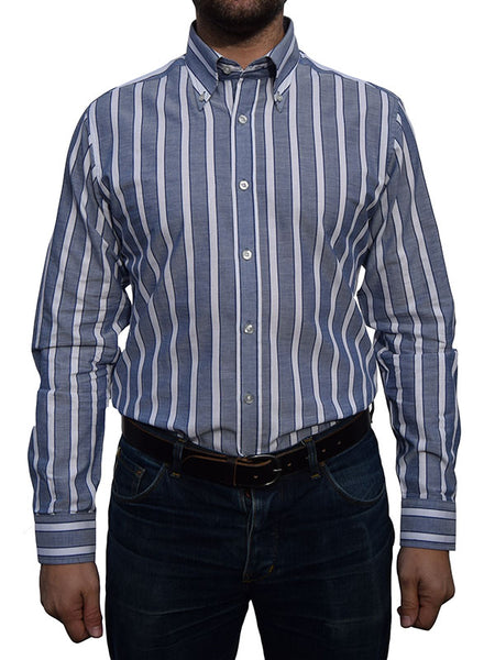 Art Gallery Navy Blue & White Striped Shirt