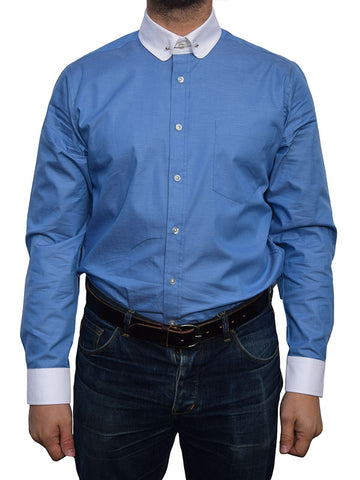 Art Gallery Blue Pin Collar Shirt