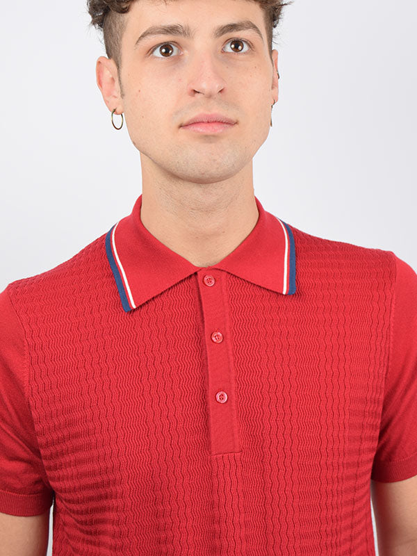 Art Gallery Red Tipped Textured Polo