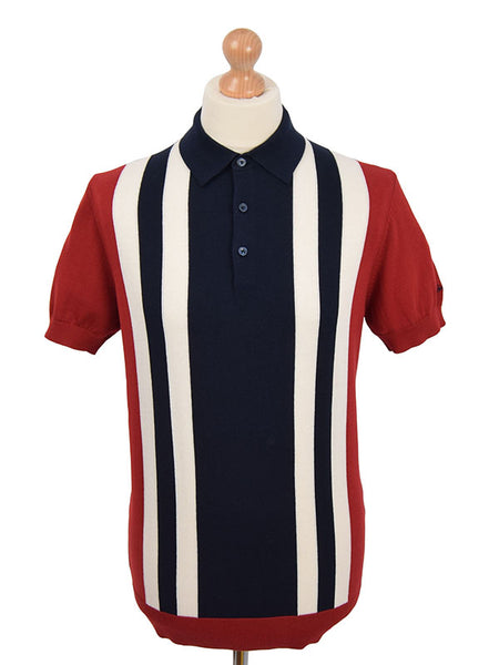 Ben Sherman Red Navy & Ecru Front Stripe Polo