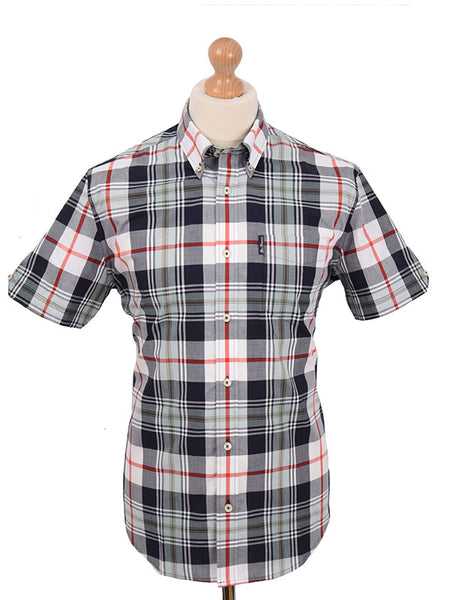 Ben Sherman Navy Sky & Red Tartan Shirt