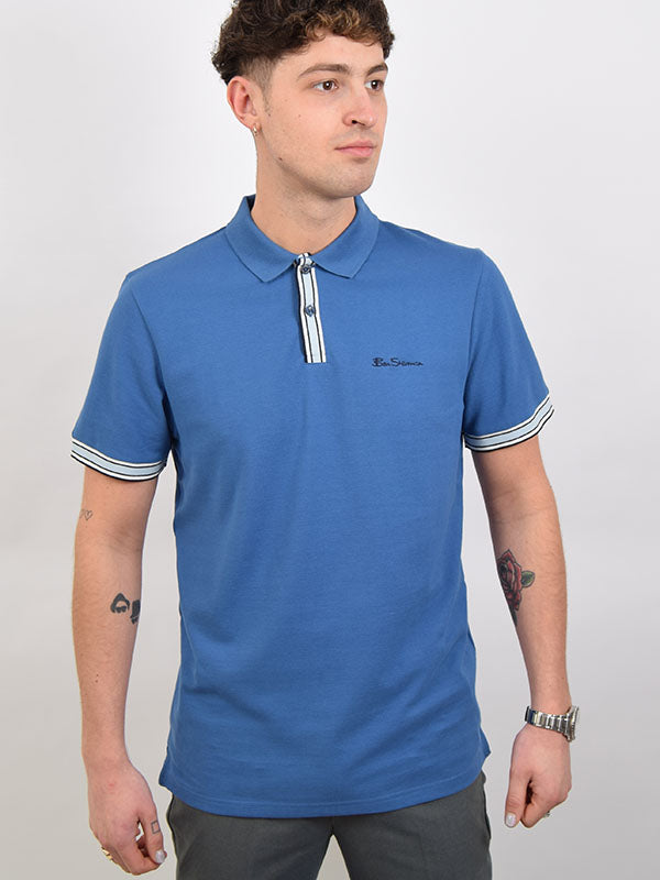 Ben Sherman Blue Pique Signature Polo