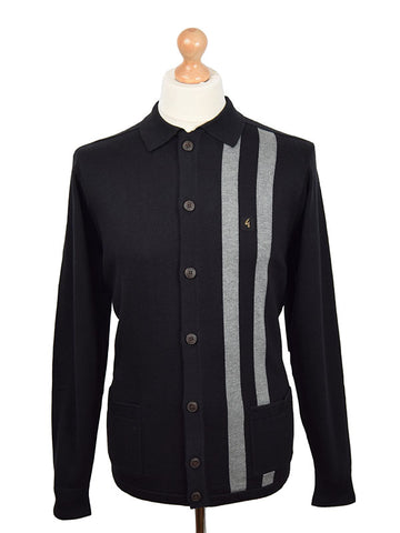 Gabicci Vintage Black Twin Stripe Cardigan