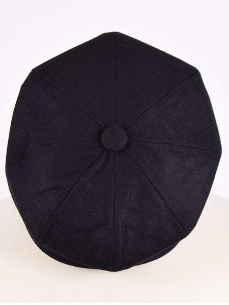 Peaky Blinders Black Melton Wool Newsboy Cap