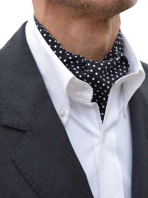 The Dapper Cravat Black & White Polka Dot Cravat & Handkerchief