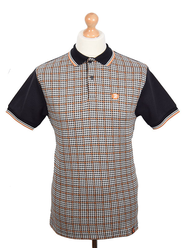 Trojan Records Black Jacquard Houndstooth Polo Shirt