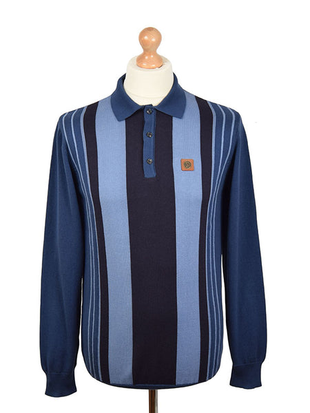Trojan Records Blue & Navy Front Stripe Polo Shirt